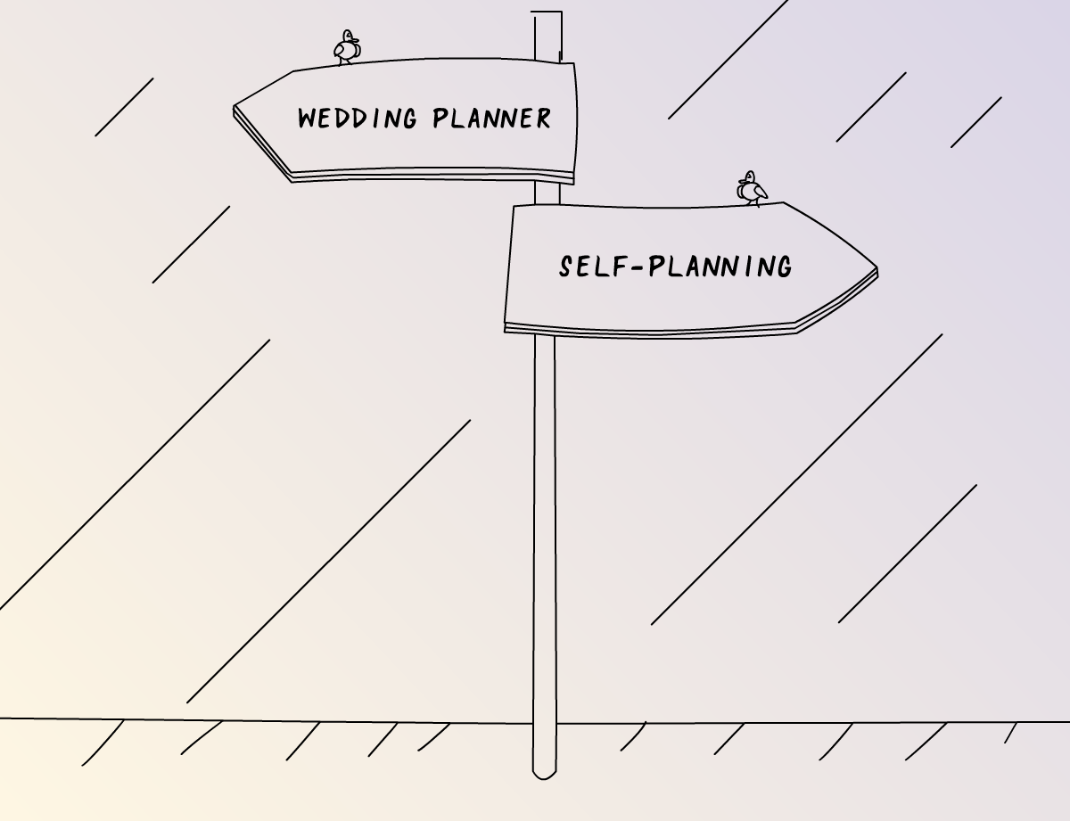 Illustration wedding planner vs self-planning