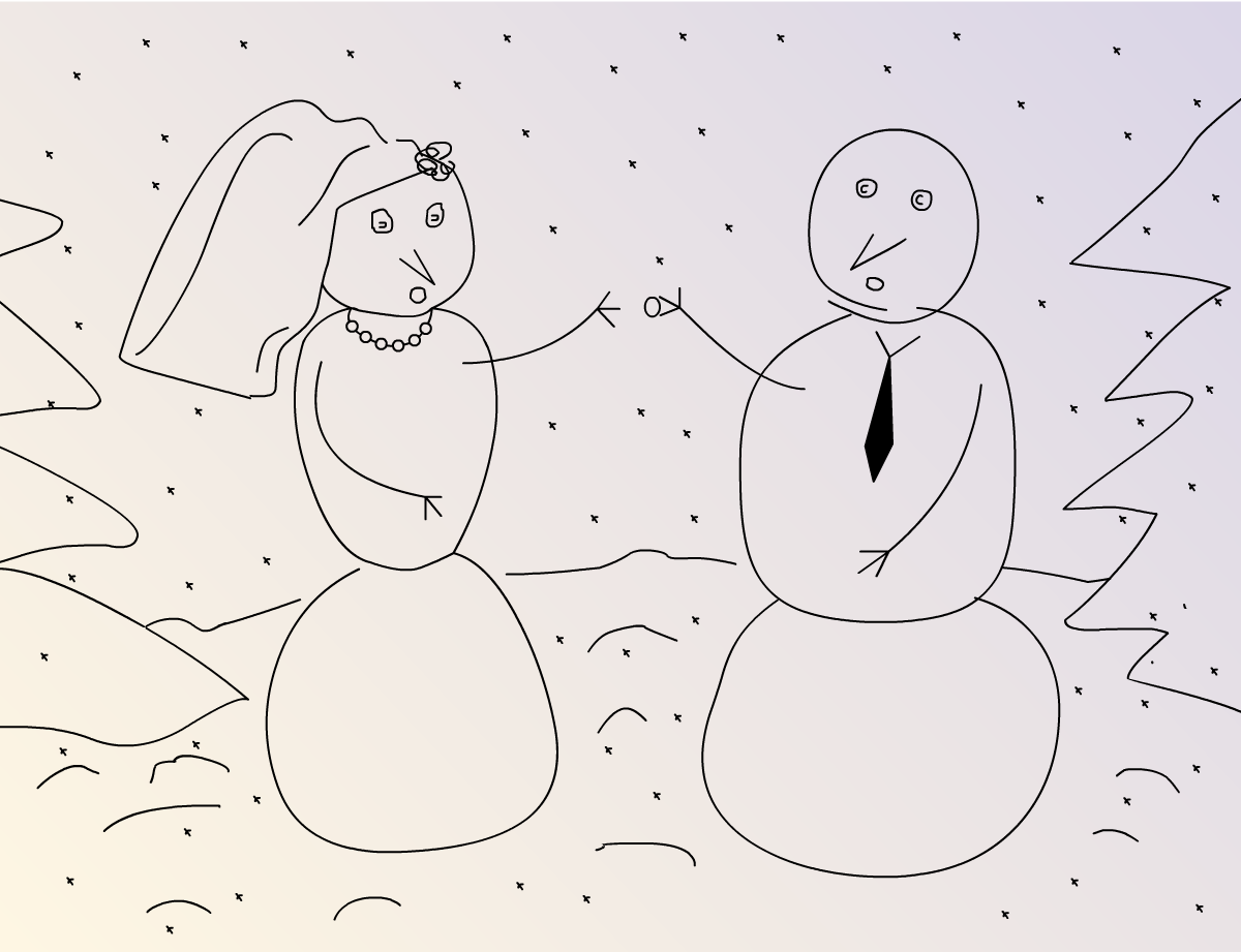 Illustration snow woman and man on the wedding