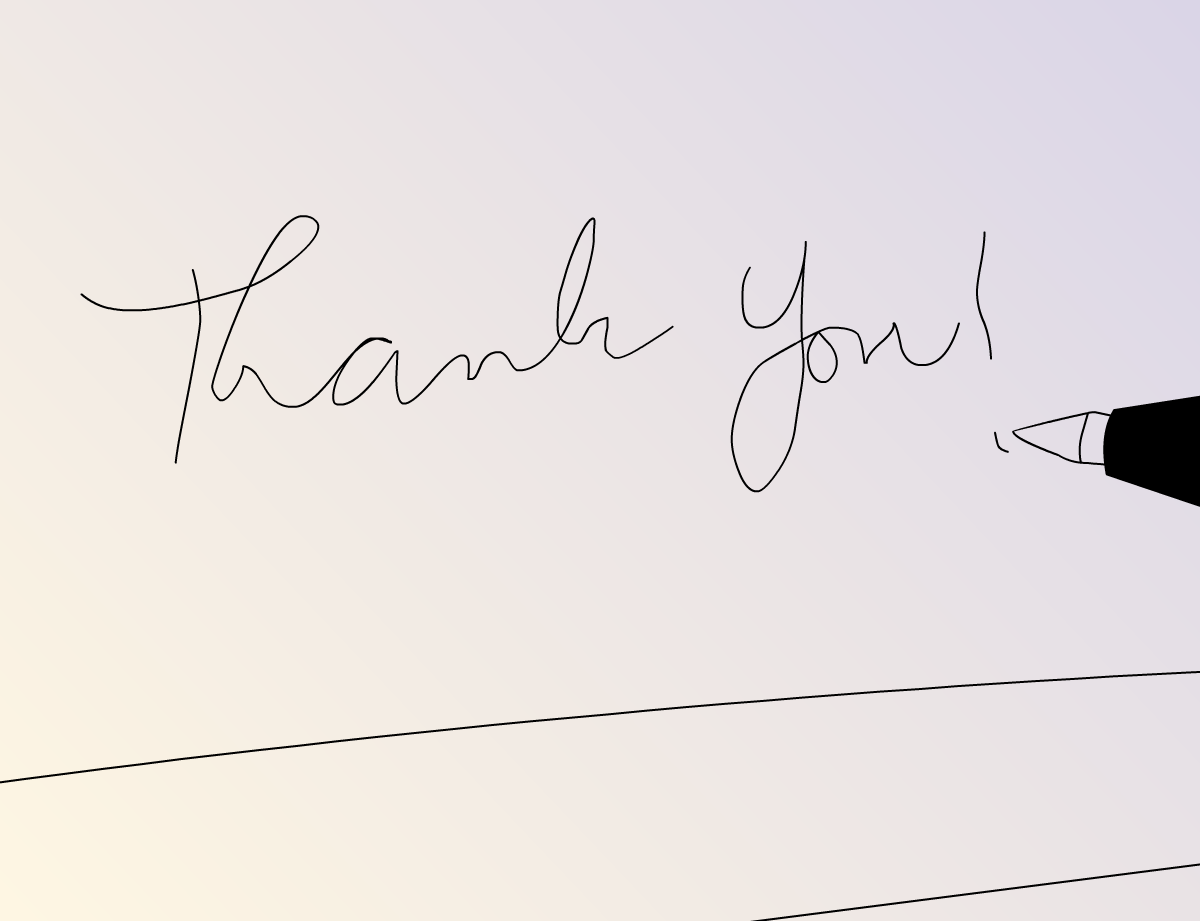 Illustration wedding thank you note