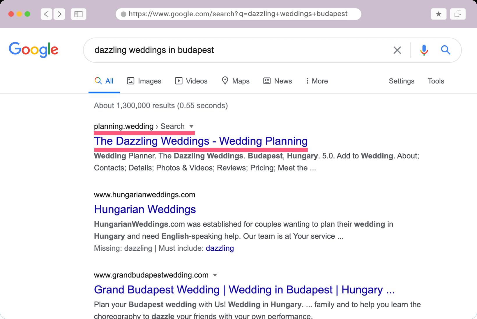Résultat de la recherche de l'interface de capture d'écran