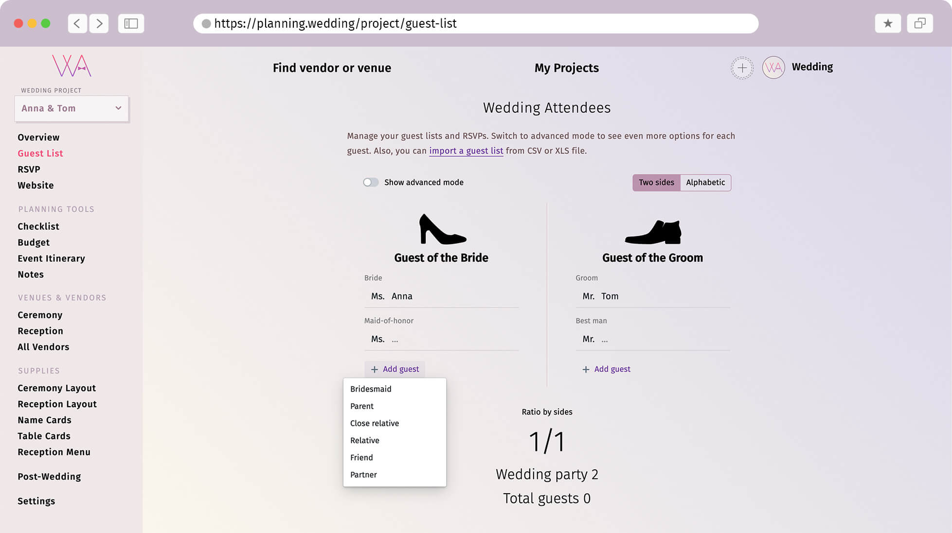 Screenshot of interface how manage guests