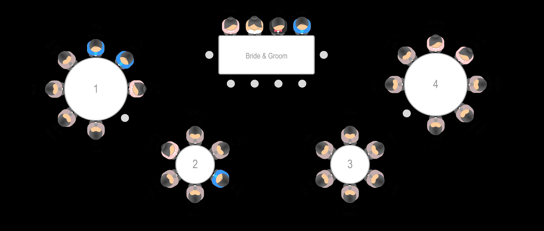 Illustration showcase wedding seating chart