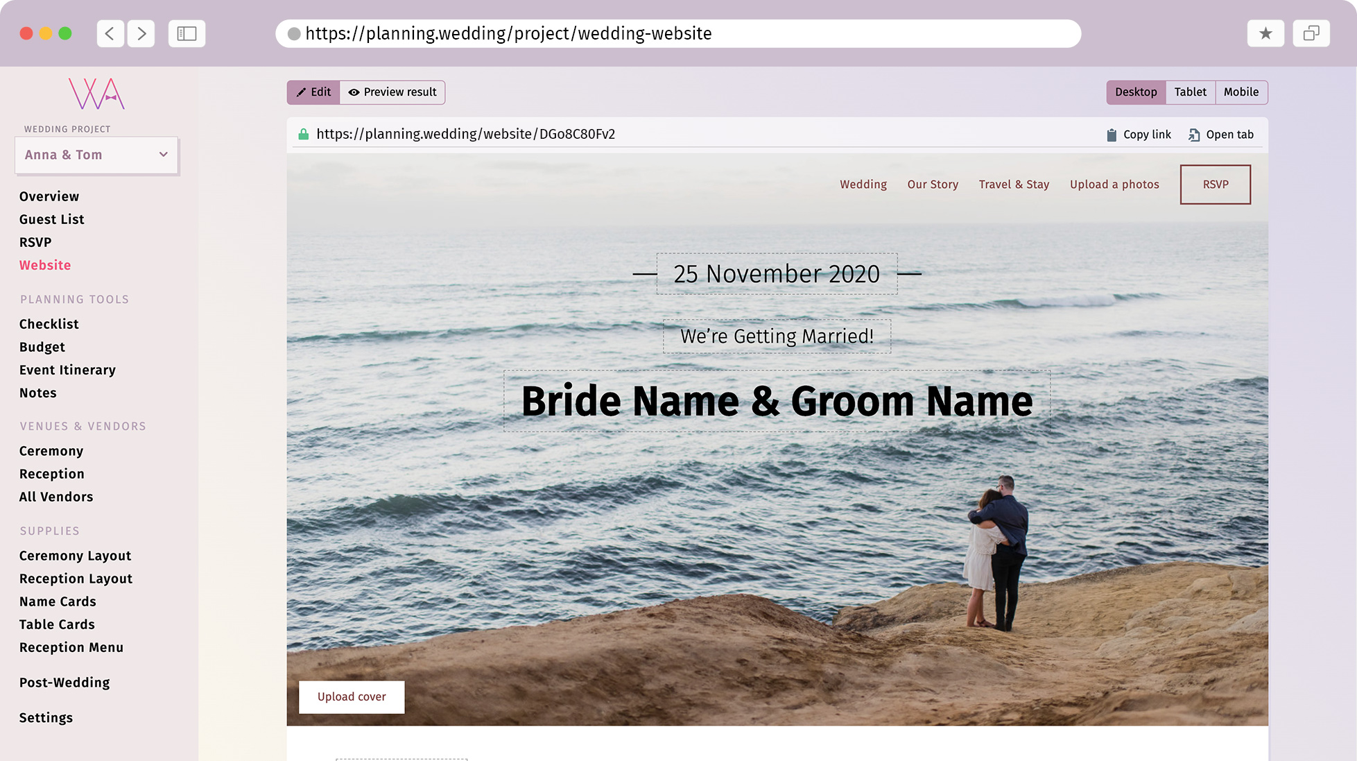 Interface bride name groom name