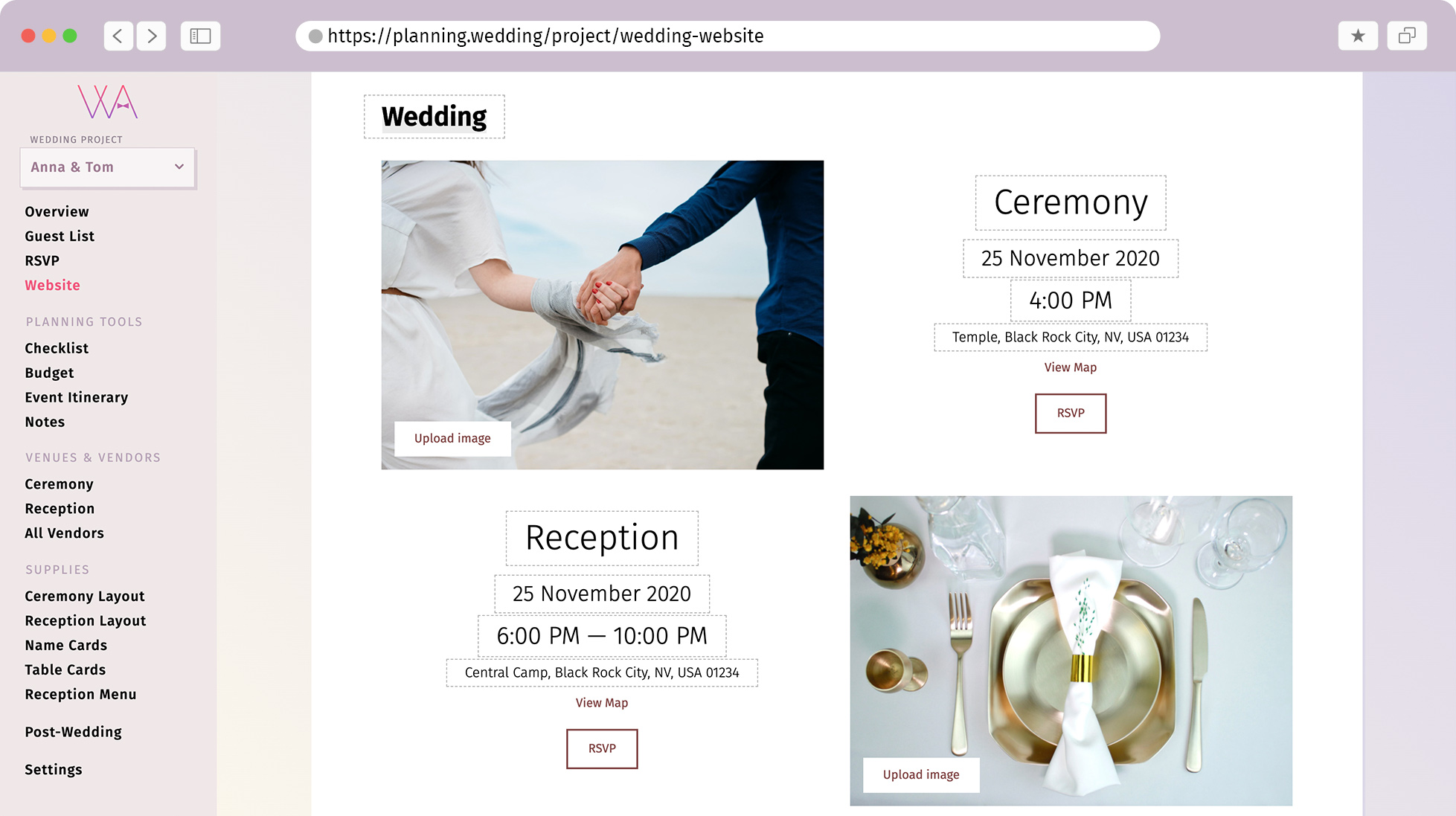 Interface wedding website edit